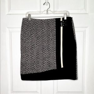 WHBM Tweed Short Skirt Black White with Buckle